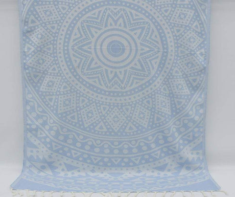 Coastal -Baby Blue Mandala 100% Cotton Towel-Coastal Passion