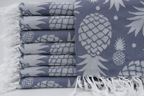 Coastal -Pineapple Blue Gray 100% Cotton Towel-Coastal Passion