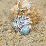 Coastal One of a Kind Necklace-Sea Turtle Pendant Necklace with Larimar. Blue Topaz and Mother of Pearl Mosaic-Coastal Passion