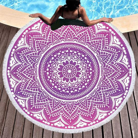 Mandala Mystique Fun Beach Towel-Round Beach Towel-Adult: 150 cm diameter-Australian Coastal Passion
