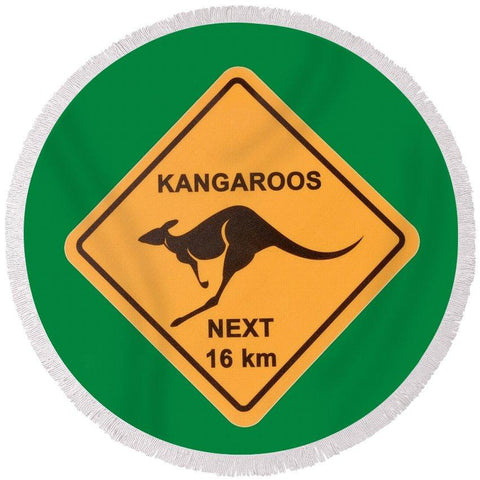 Kangaroo Crossing Round Beach Towel-Round Beach Towel-Adult: 150 cm diameter-Australian Coastal Passion