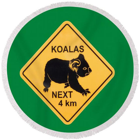 Koala Crossing Round Beach Towel-Round Beach Towel-Adult: 150 cm diameter-Australian Coastal Passion
