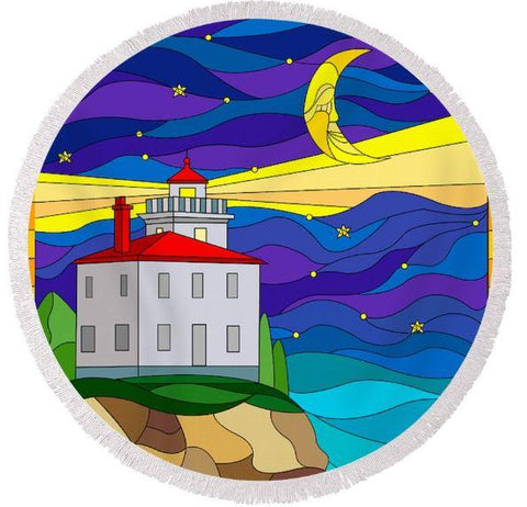 Coastal Round Beach Towel-Lighthouse In The Night Round Beach Towel-Coastal Passion