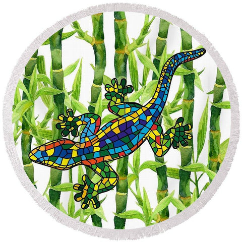 The Bamboo Gecko Round Beach Towel-Round Beach Towel-Adult: 150 cm diameter-Australian Coastal Passion