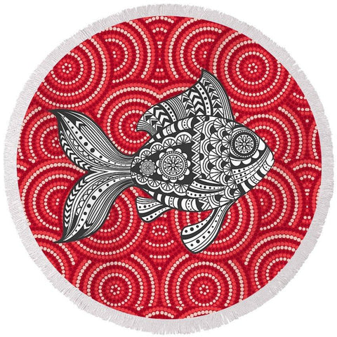 Tribal Fish Round Beach Towel-Round Beach Towel-Adult: 150 cm diameter-Australian Coastal Passion