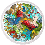 The Happy Mermaid Round Beach Towel-Round Beach Towel-Adult: 150 cm diameter-Australian Coastal Passion