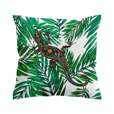 Palm Leaves Gecko Cushion Cover-🇦🇺 Australian Coastal Passion