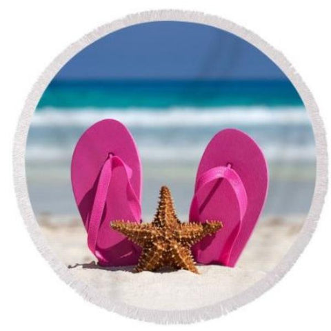 Coastal Round Beach Towel-Pink Flip Flops & Starfish Round Beach Towel-Coastal Passion