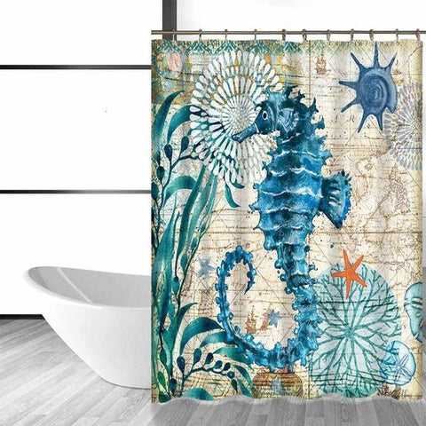 Seahorse Life Shower Curtain-Shower Curtain-Australian Coastal Passion