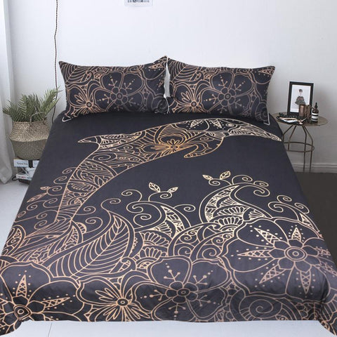 The Golden Dolphin Doona Cover Set-Doona Quilt Cover Set-Australian Coastal Passion