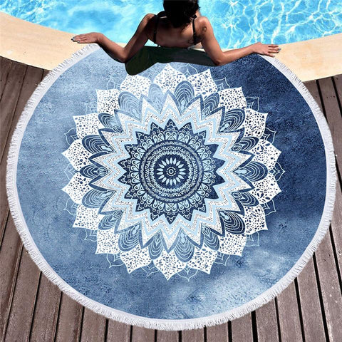Bali Blue Surf Round Towel-Round Beach Towel-Adult: 150 cm diameter-Australian Coastal Passion