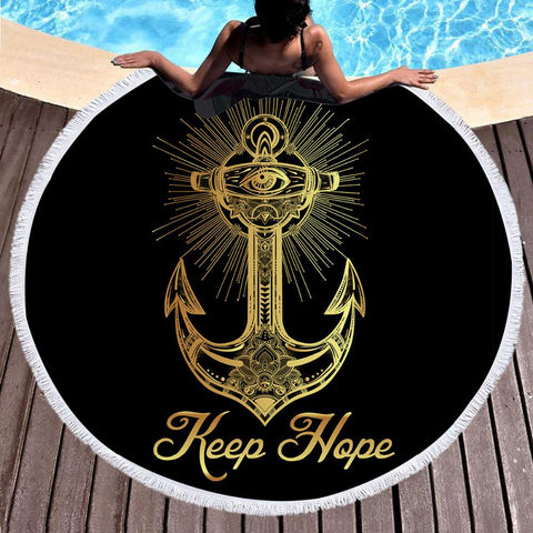 Always Keep Hope Fun Beach Towel-Round Beach Towel-Australian Coastal Passion