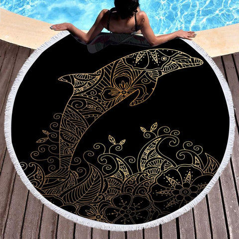 The Golden Dolphin Round Beach Towel-Round Beach Towel-Adult: 150 cm diameter-Australian Coastal Passion