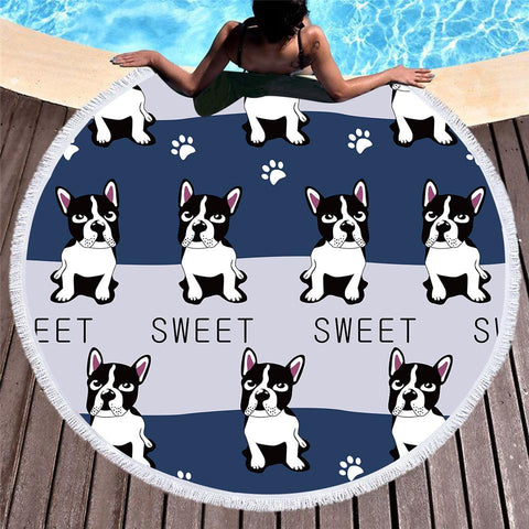 My Sweet Sweet Frenchie Beach Roundie-Round Beach Towel-Australian Coastal Passion