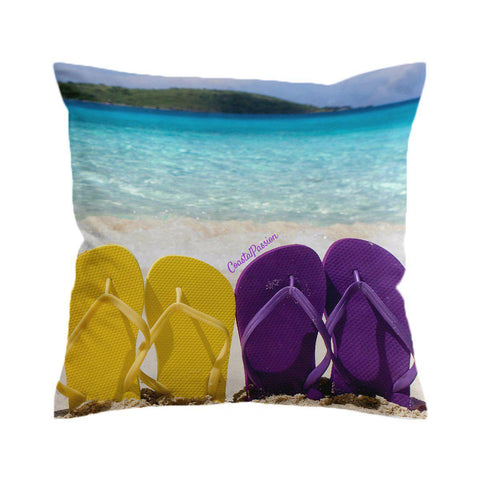Purple & Yellow Flip Flops Cushion Cover-🇦🇺 Australian Coastal Passion