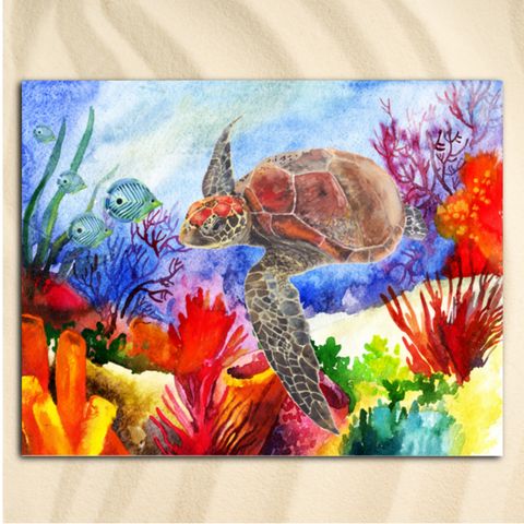 Coastal Beach Towel-Sea Turtle Rainbow Jumbo Beach Towel-Coastal Passion
