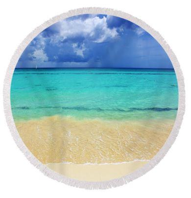 Coastal Round Beach Towel-Palm Bay Round Beach Towel-Coastal Passion