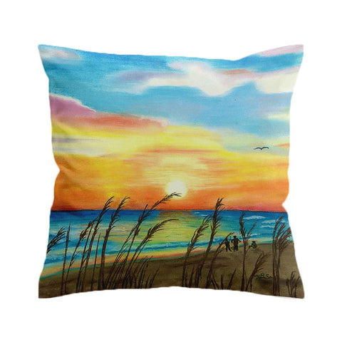 Sunset Beach Painting Cushion Cover-🇦🇺 Australian Coastal Passion