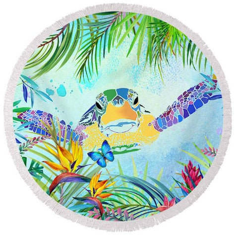Coastal Round Beach Towel-Rainbow Bay Round Beach Towel-Coastal Passion