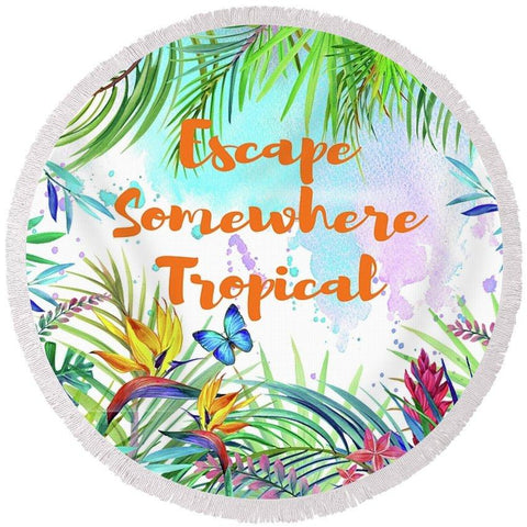 Escape Somewhere Tropical Round Beach Towel-Round Beach Towel-Adult: 150 cm diameter-Australian Coastal Passion