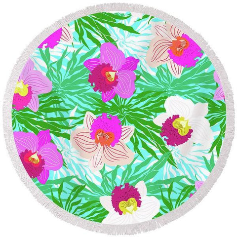 Orchid Passion Round Beach Towel-Round Beach Towel-Adult: 150 cm diameter-Australian Coastal Passion