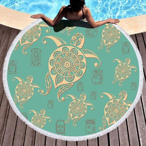 Coastal Round Beach Towel-Turtle Turquoise Round Beach Towel-Coastal Passion