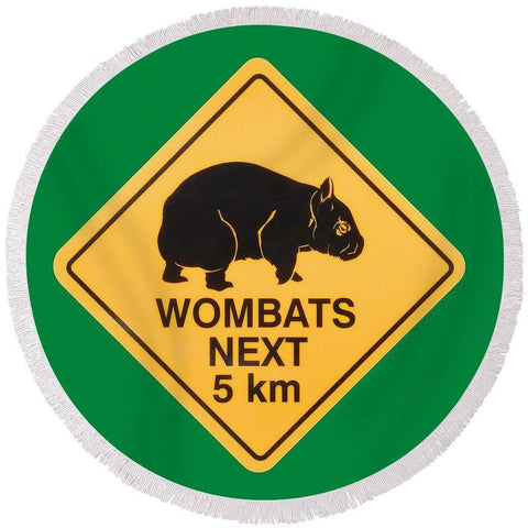 Wombats Road Sign Round Beach Towel-Round Beach Towel-Adult: 150 cm diameter-Australian Coastal Passion