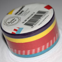 3 pack of slim washi tape in purple, red and turquoise