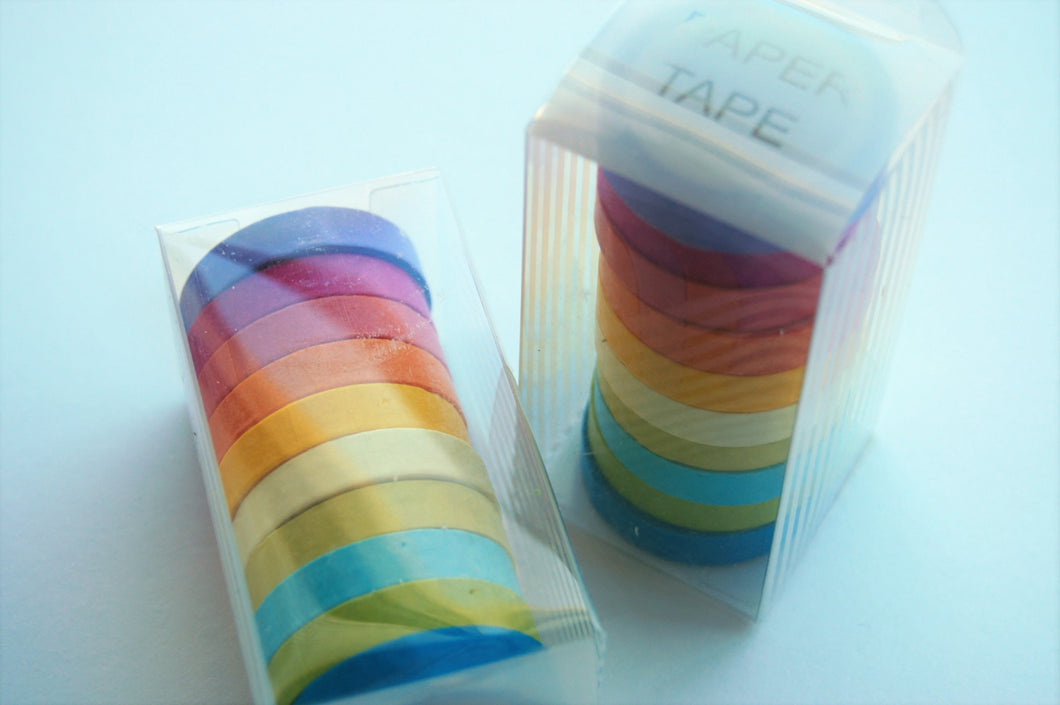 10 Pack of multi coloured washi tape slim