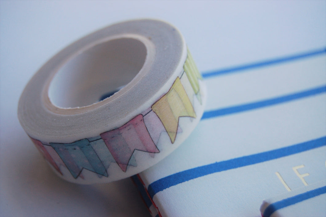 Pastel coloured flag banner washi tape