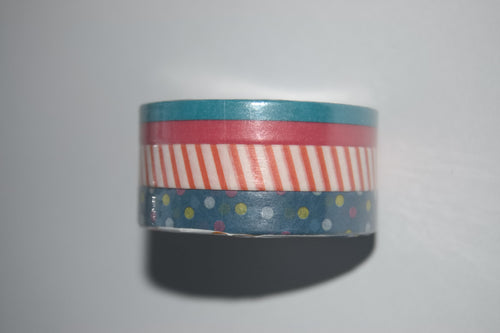 3 pack slim washi tape with stripes and polka dots