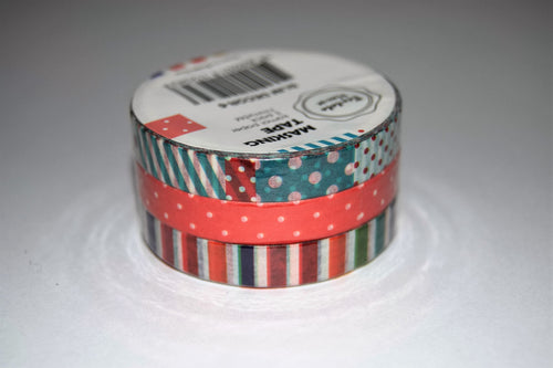 3 pack of slim washi tape in stripes and polka dots