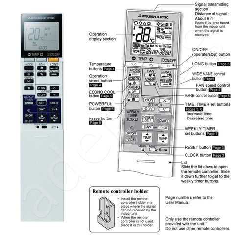 electric mitsubishi remote product wattec white control