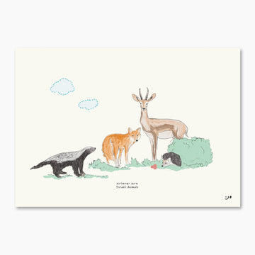 Woodland Art Print Illustration - Israeli Animales