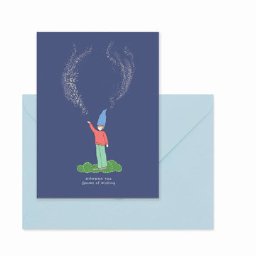 Waldorf Inspired Greeting Card with Gnome of Wishing Illustration by Studio Stav