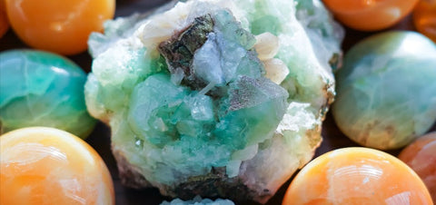 Green Apophyllite and Orange Calcite Crystals
