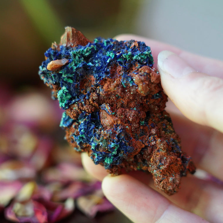 Azurite & Malachite & Red Limonite Quartz of Divine Intervention