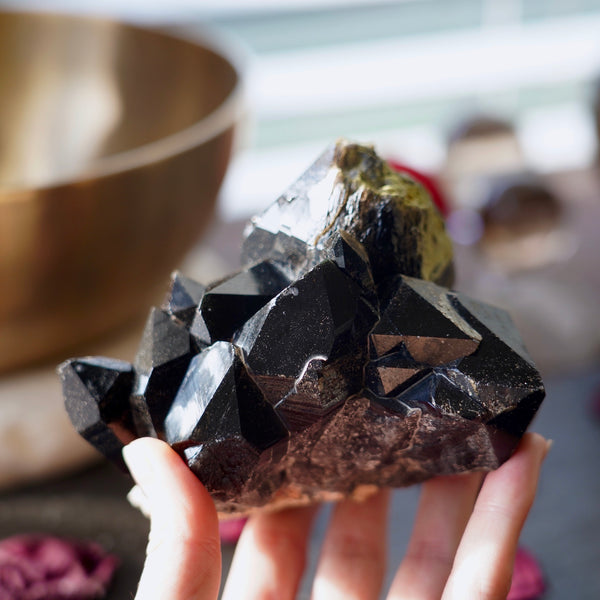 Morion Quartz Cluster Left Side In Hand