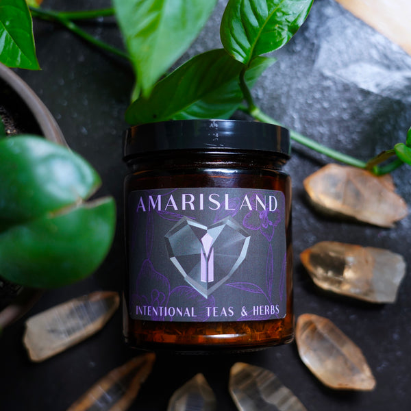 Pain Relief Herbal Tea Blend in Amarisland Jar with Black and Purple Label