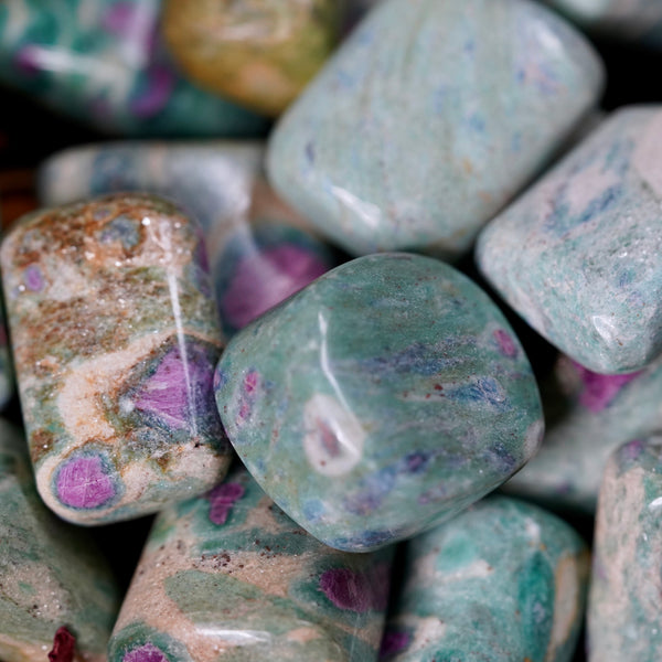 Ruby and Blue Kyanite in Fuchsite Tumbles of Accessible Love
