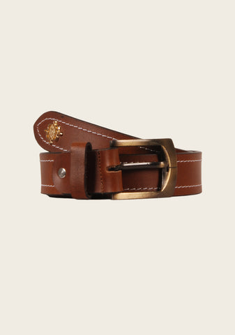 Dark Brown Contrast Stitch Belt - Espoir Equestrian