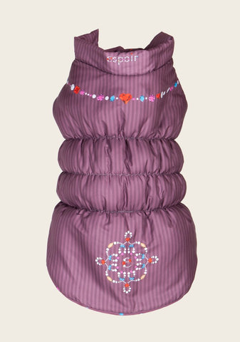 Espoir Purple Jewelled Dog Puffer Jacket