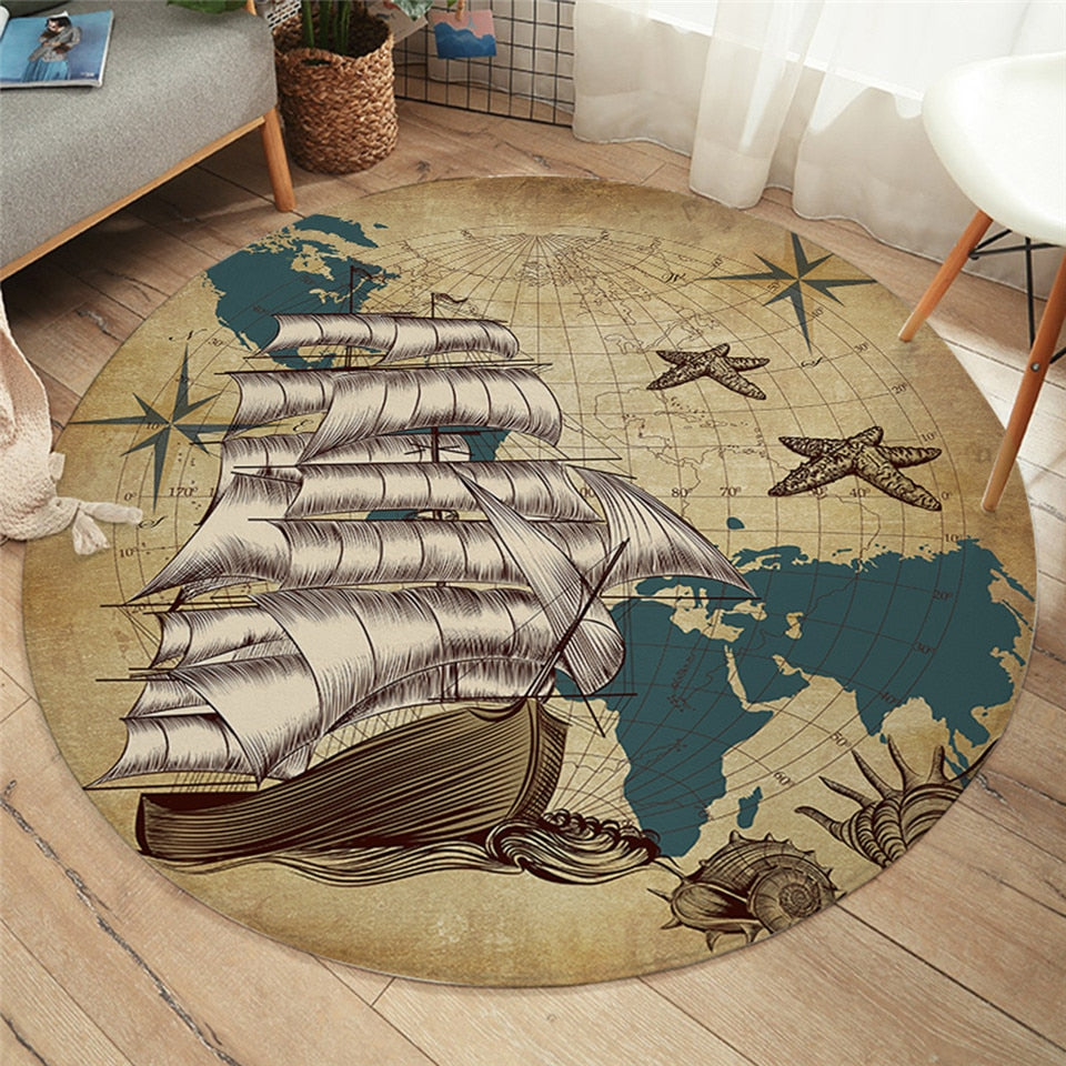 Ship Ahoy Round Area Rug
