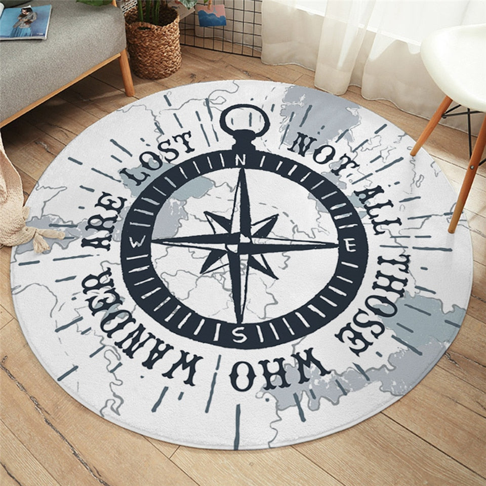 Ocean Wanderer Round Area Rug-Coastal Passion