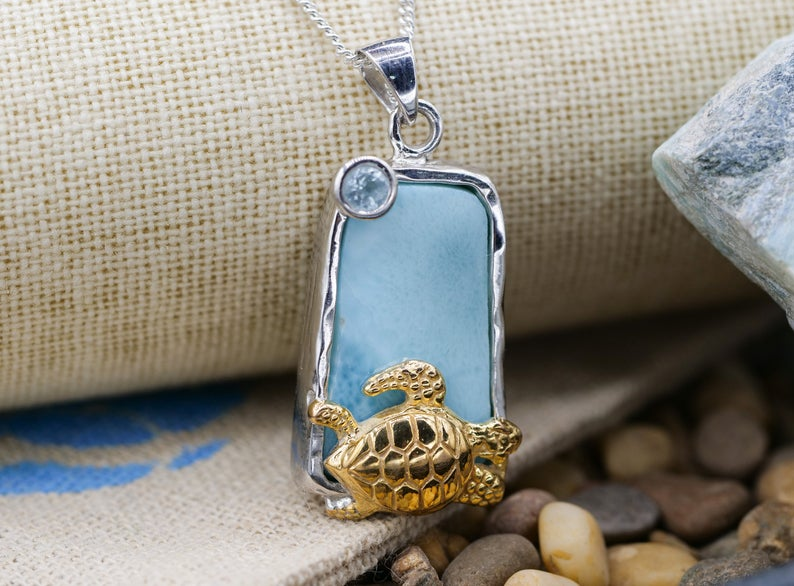 Caribbean Larimar Pendant Necklace with Golden Sea Turtle - Only One Piece Created