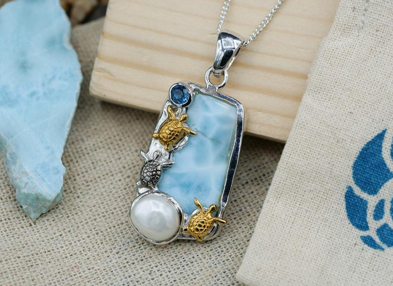 Three Sea Turtles with Larimar and Pearl Pendant Necklace - Only One Piece Created