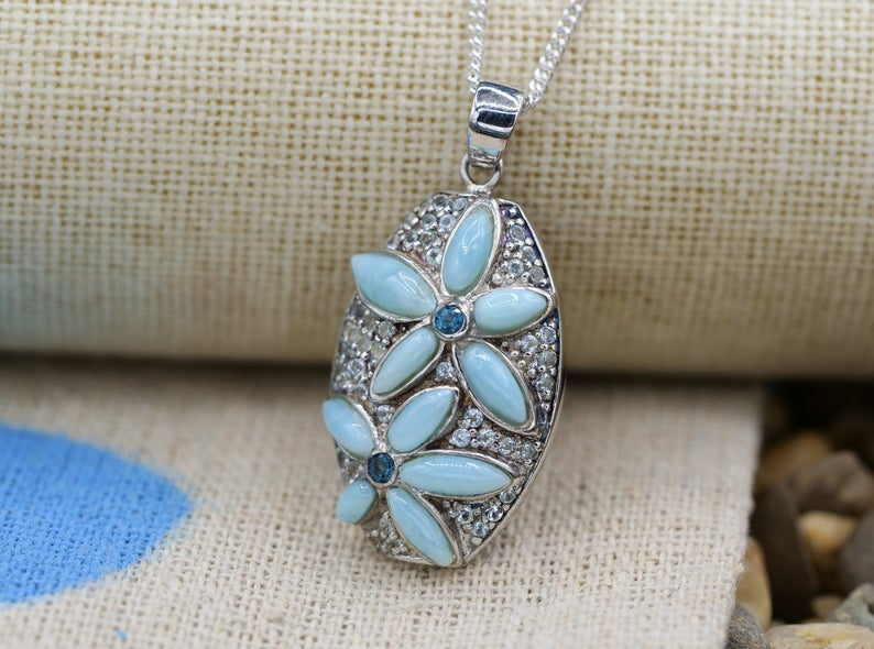 Caribbean Larimar Necklace with Frangipani Flower - Only One Piece Created