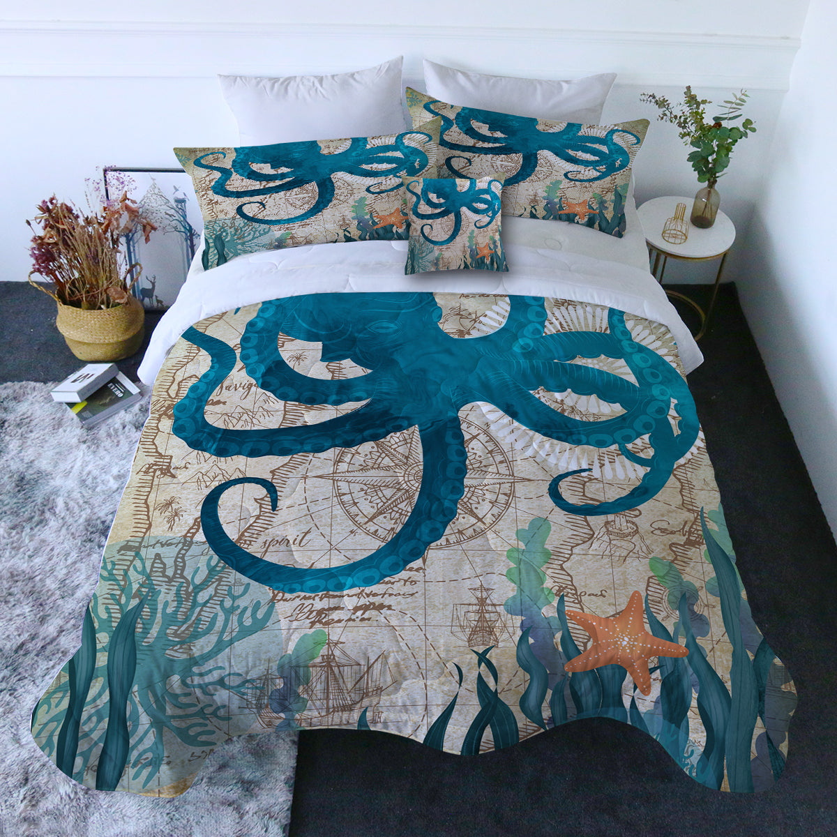 Octopus Love Quilt Set