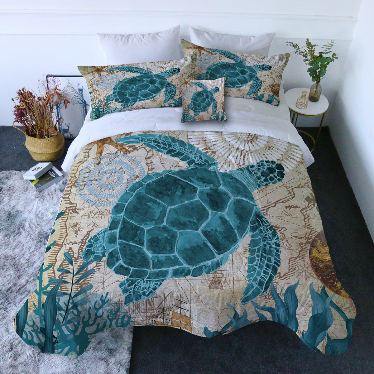 Sea Turtle Love Quilt Set
