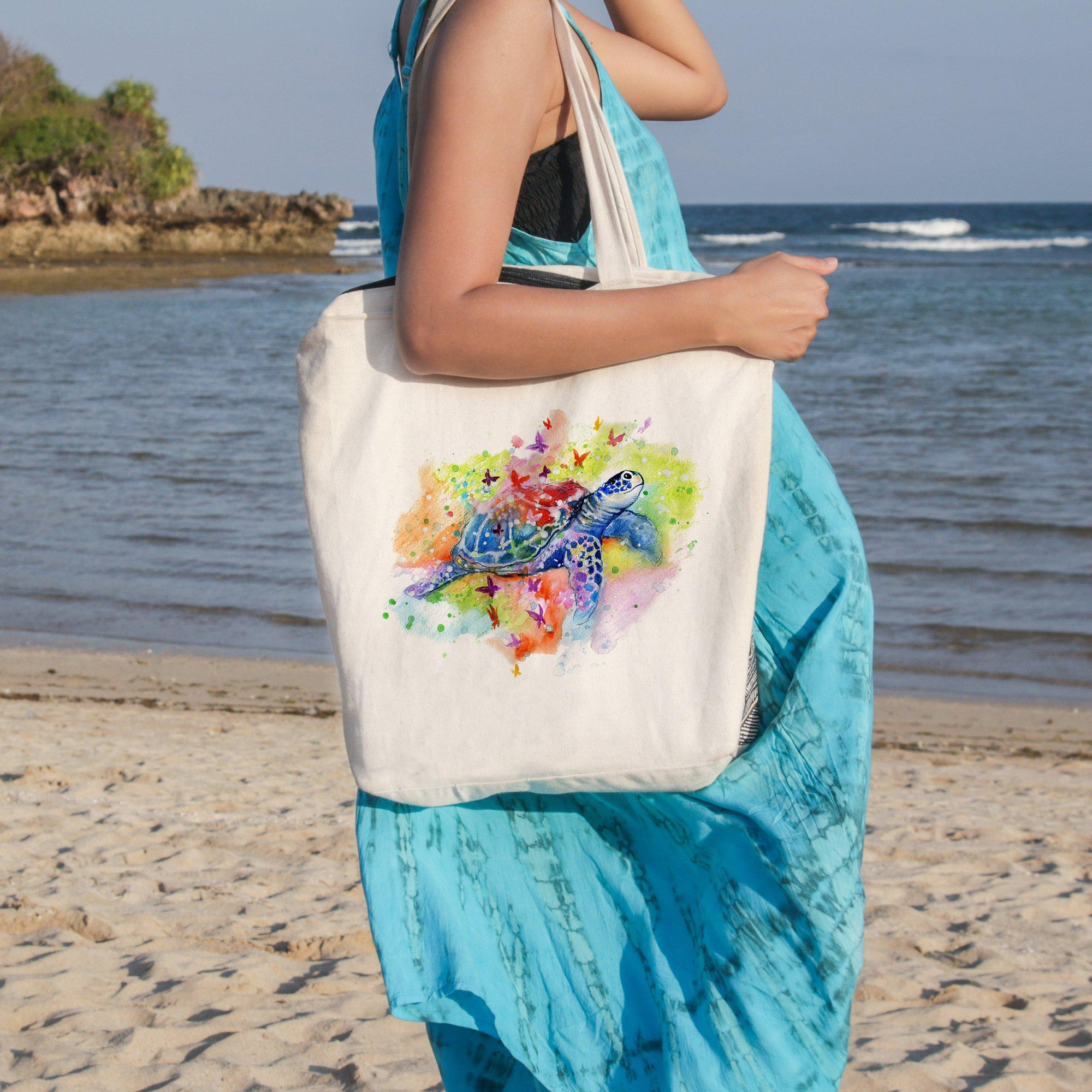 Sea Turtle Splash Beach Tote